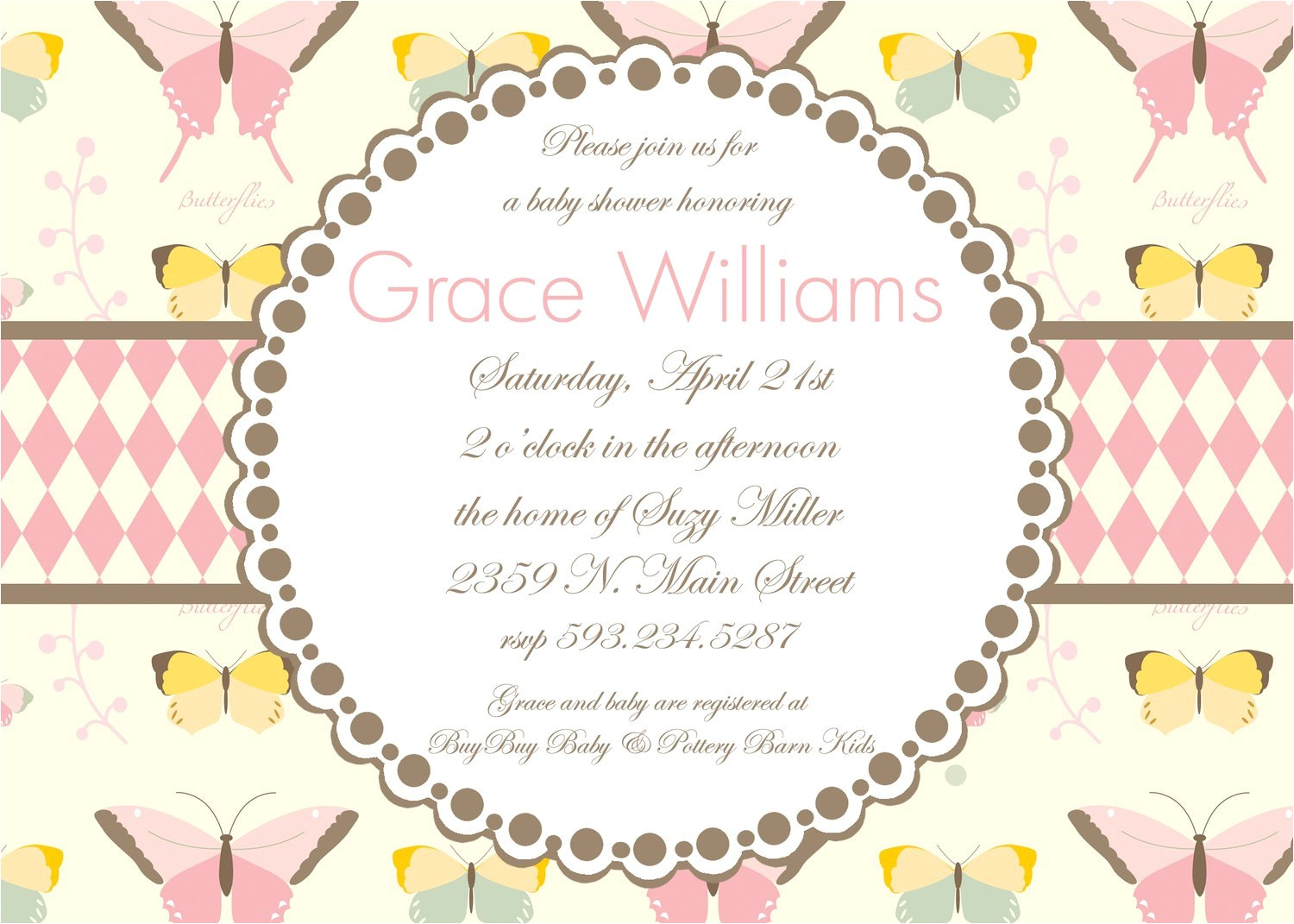 butterfly themed baby shower invitation