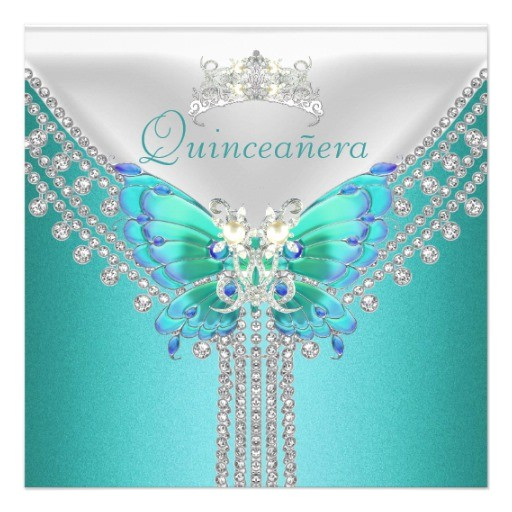 quinceanera teal blue white butterfly diamond invitation 161497200430680954