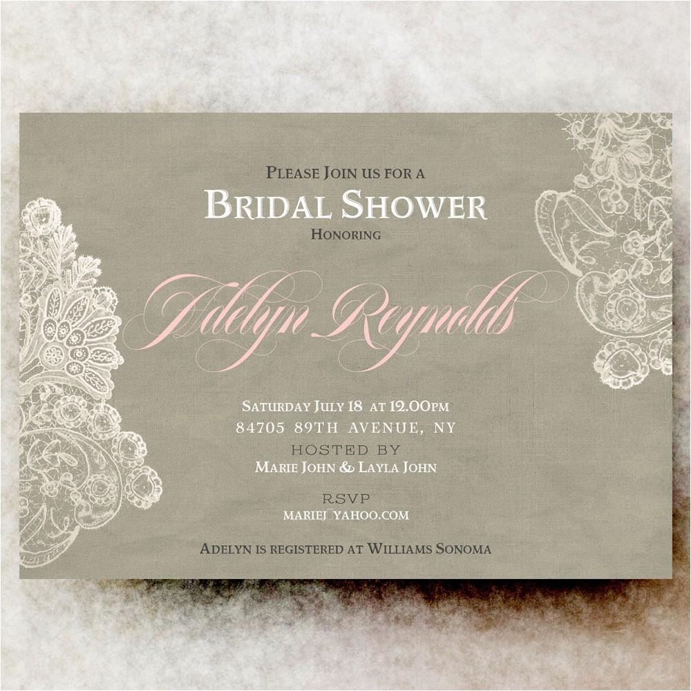 bridal shower invitation linen with white lace wedding shower invitation digital diy