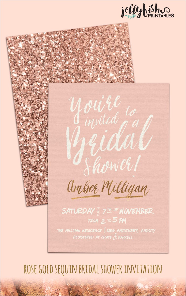 rose gold bridal shower invitation customized for