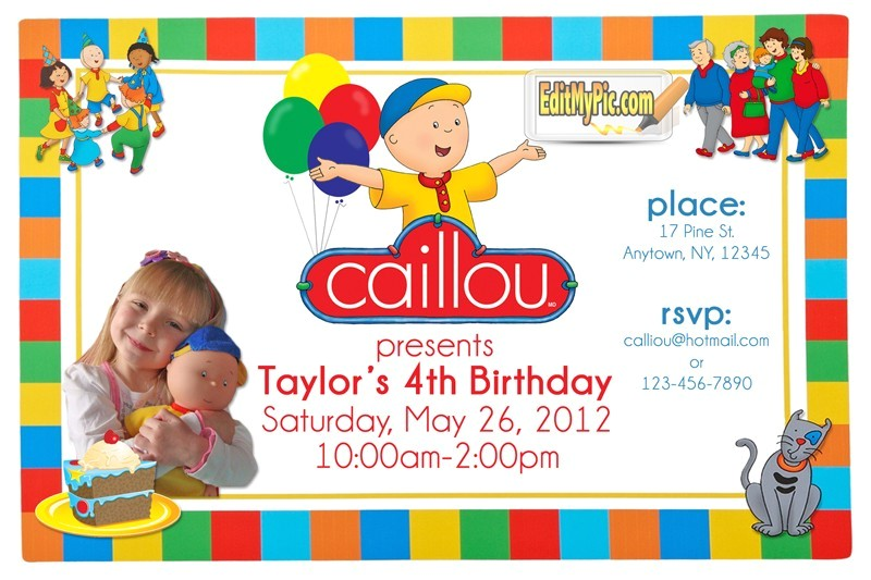 caillou birthday party invitation custom printable invite