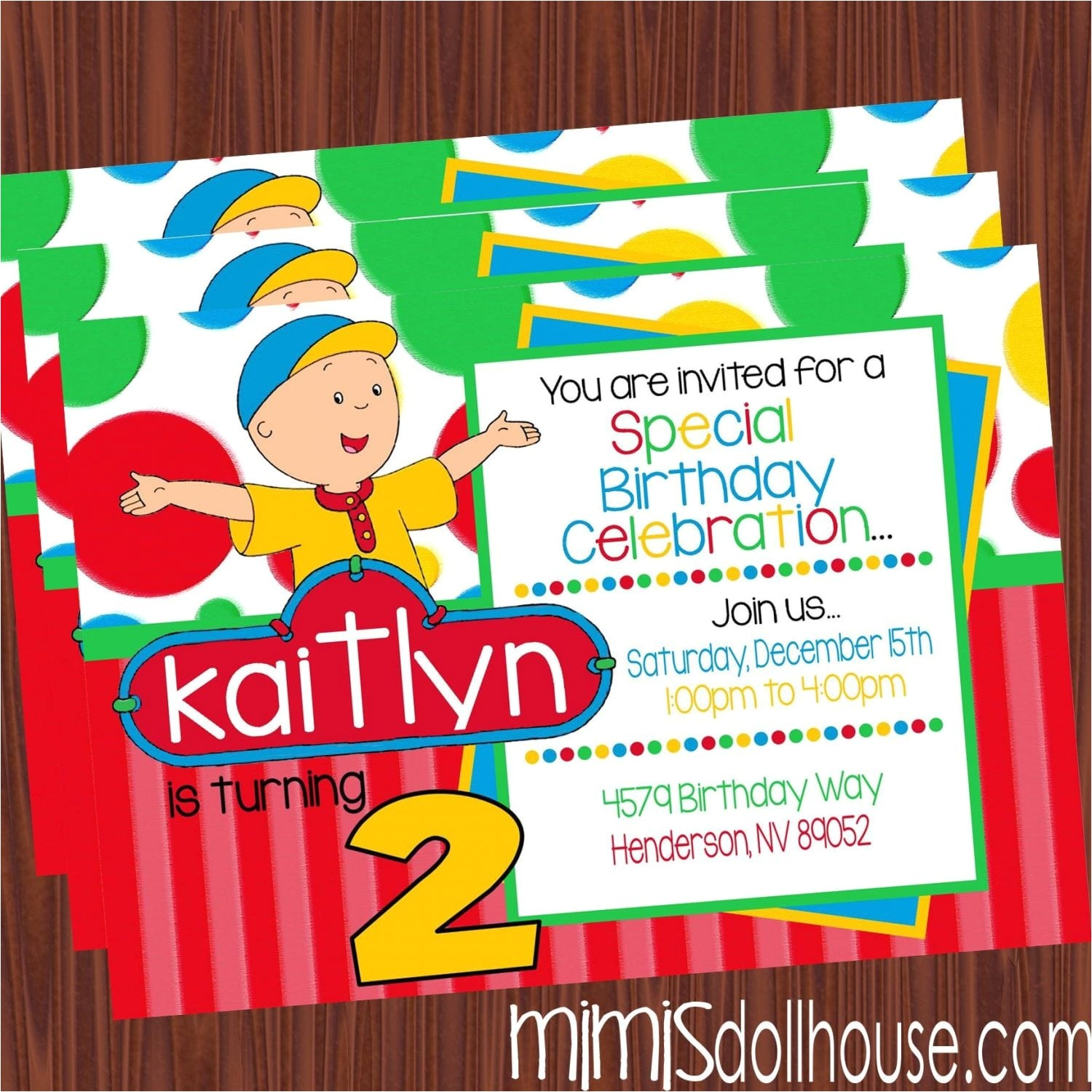 Caillou Party Invitations Caillou Invitation Mimi 39 S Dollhouse
