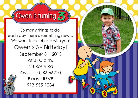 caillou birthday party invitation