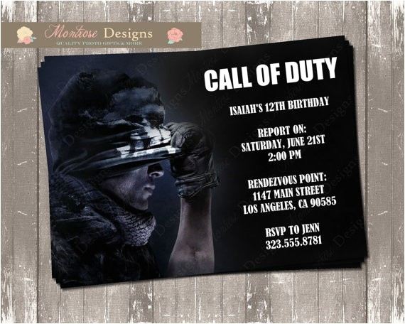 call of duty birthday invitation digital