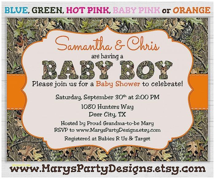 camo boy baby shower invitations