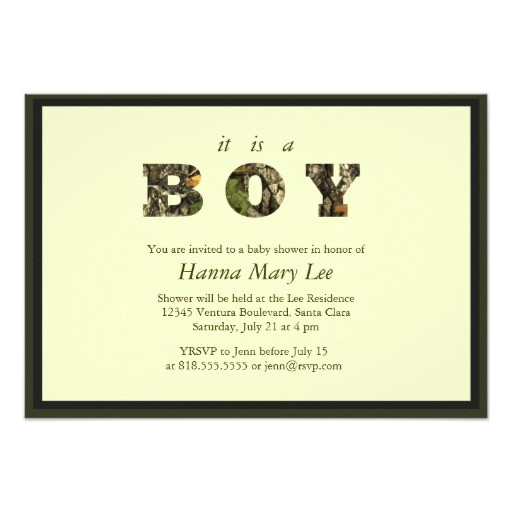 camo its a boy baby shower invitation