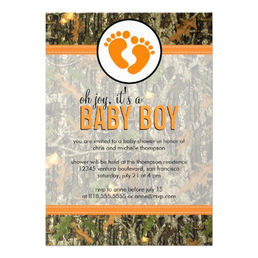 "Camo Baby Boy Shower Invitations orange Camo Baby Boy Shower Invitation 5"" X 7"