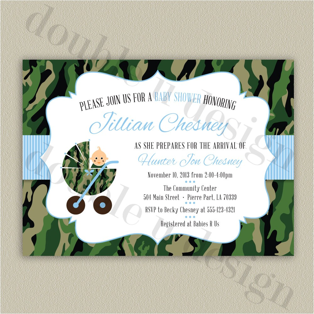 camouflage baby shower invitation