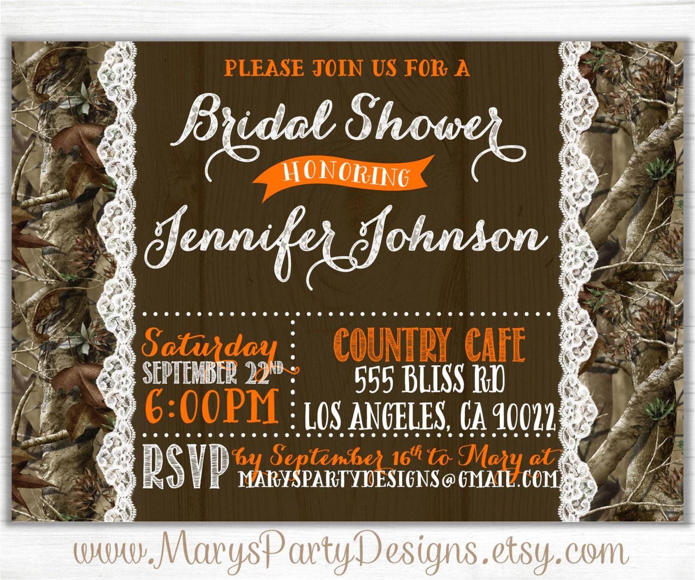 camo bridal shower invitation lace