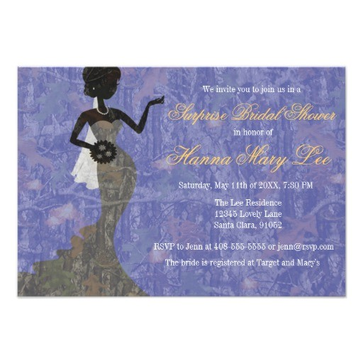 camo elegant periwinkle bridal shower invitation