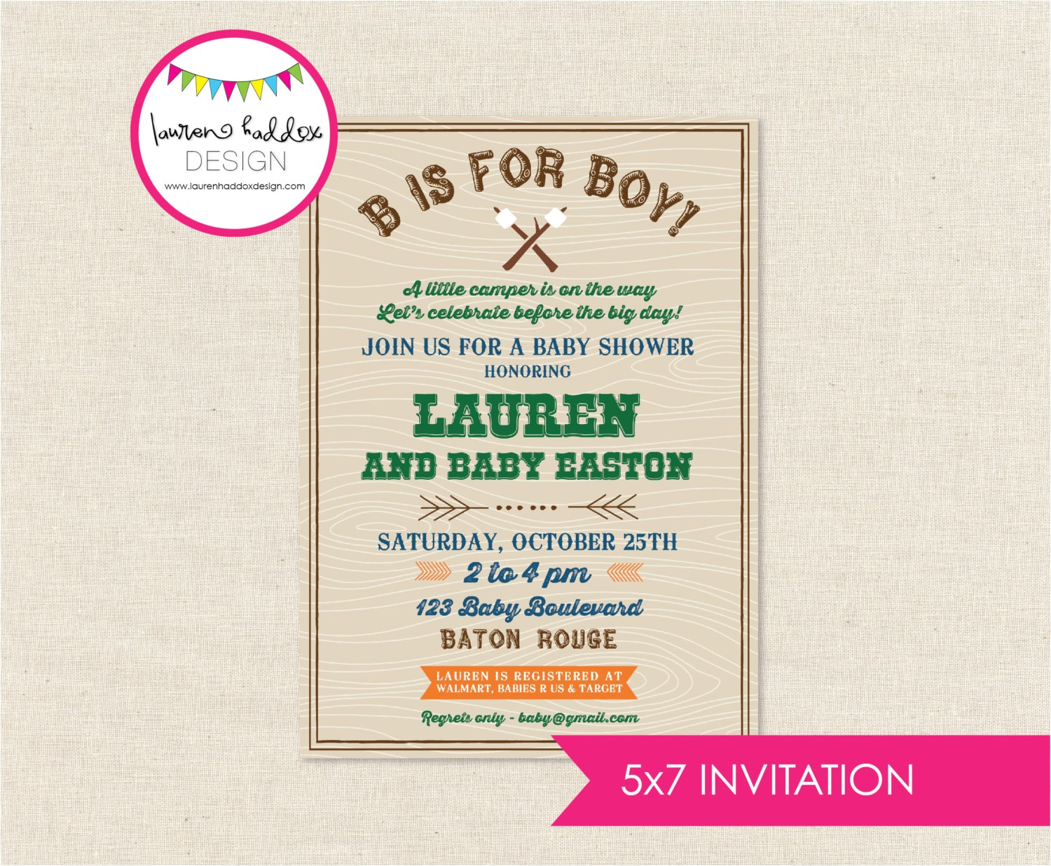 diy camping baby shower invitation only
