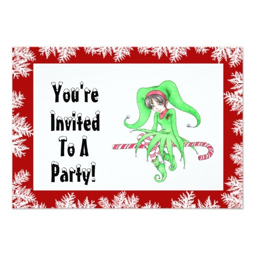 candy cane elf holiday party invitation