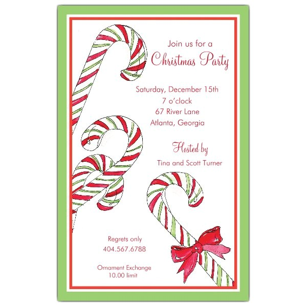 Candy Canes Christmas Invitations p 622 58 C33