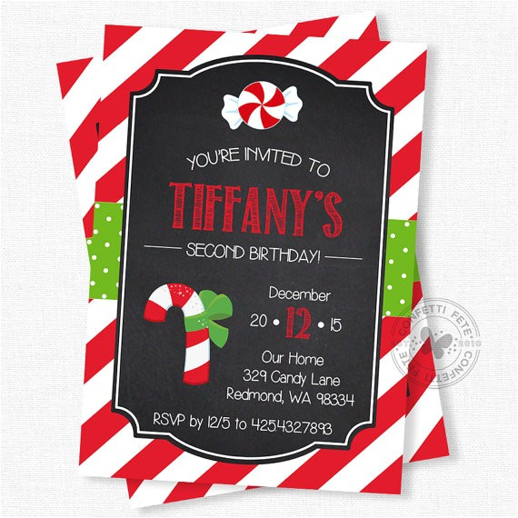 Candy Cane Christmas Party Invitations Christmas Birthday Invitation Candy Cane Invitation
