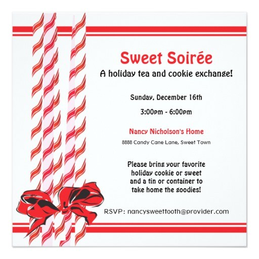 sweet candy cane holiday party invitation