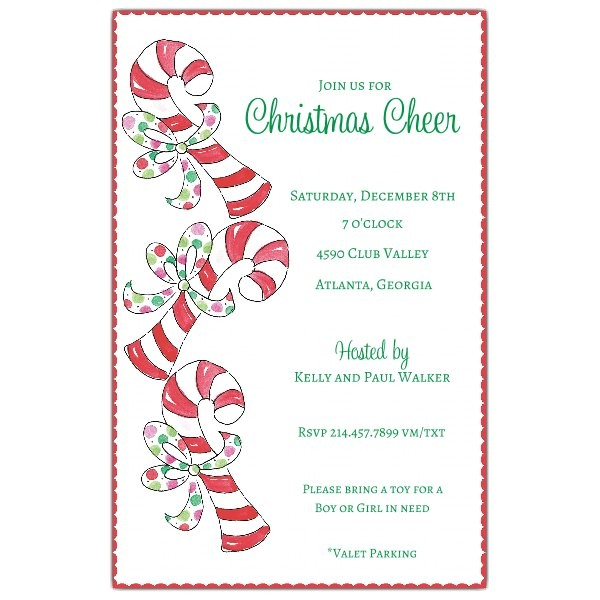 Sweet Candy Canes Christmas Invitations p 622 58 C09