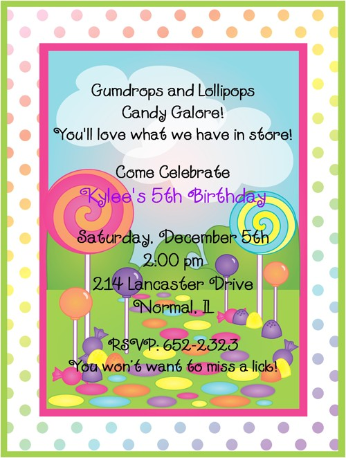 Candyland Birthday Party Invitations
