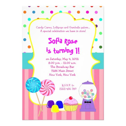 candyland sweet shoppe birthday invitation
