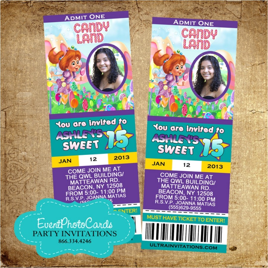 candyland sweet 16 invitations 15