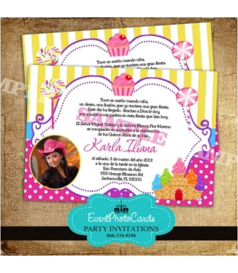 candyland quinceanera invitations 25