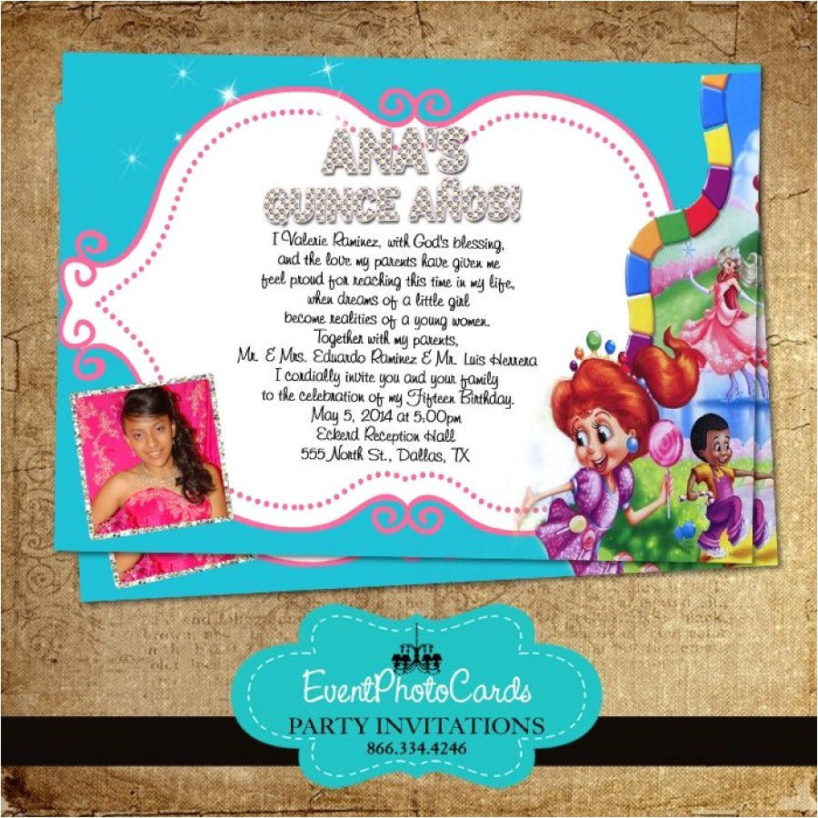 candyland sweet fifteen invitations 55