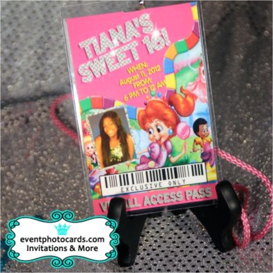 candyland vip pass sweet 16 invites