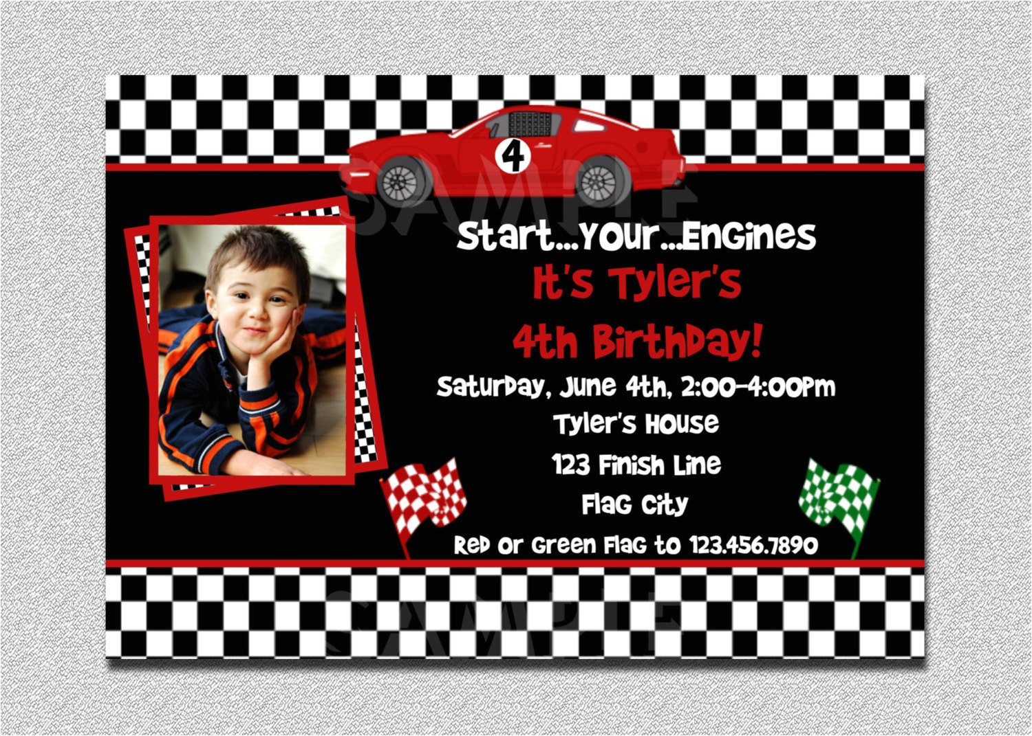 race car birthday invitation race car