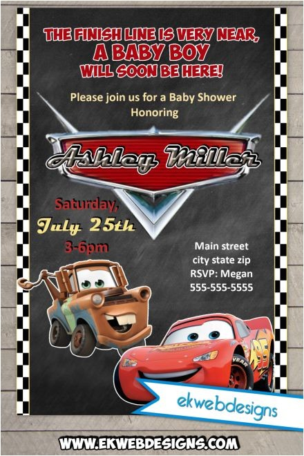 disney cars baby shower invitations custom lightening mcqueen and tow mater baby shower invitation