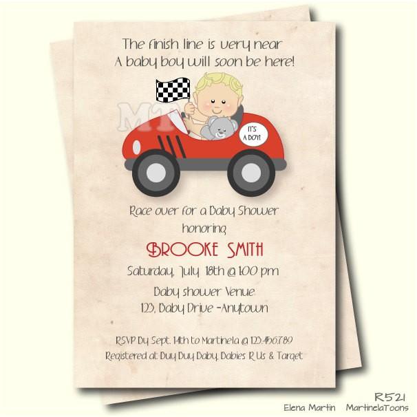 Car themed Baby Shower Invitations Race Car Baby Shower Invitation Retro Style Boy Baby Shower