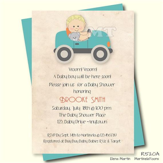 vintage car baby shower invitation retro