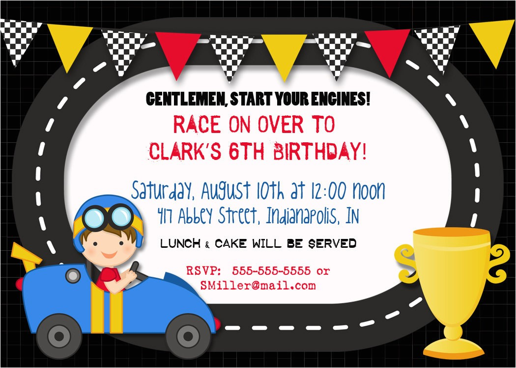 race car birthday invitation 5x7