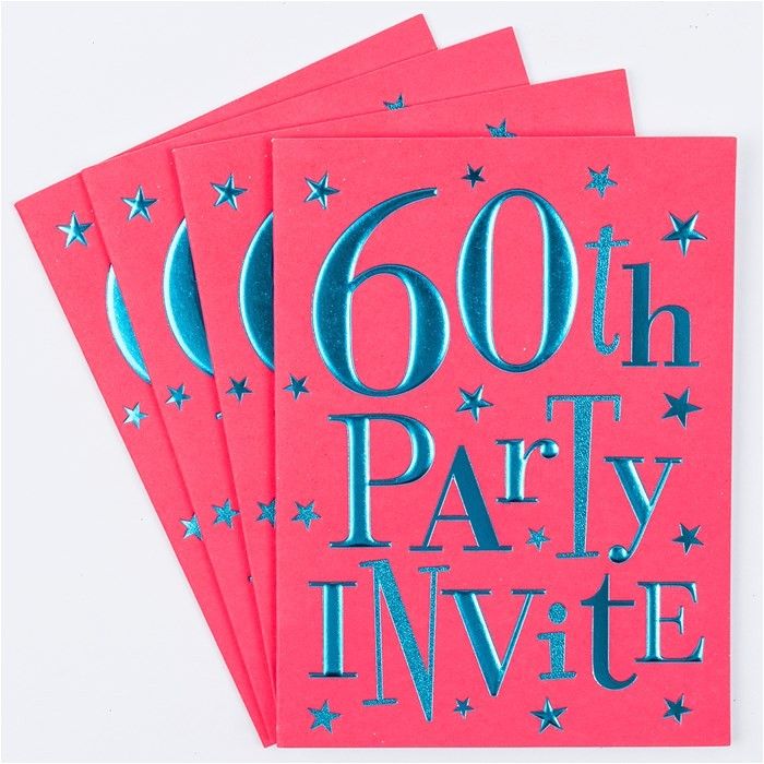 60th birthday party invitation cards pack of 10