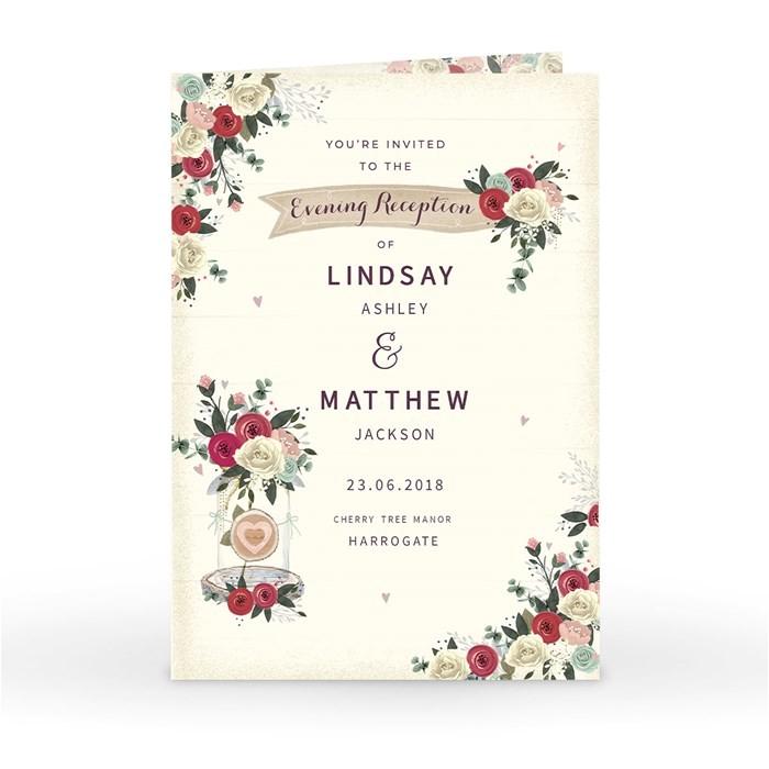 personalised wedding invitation evening reception classic rose