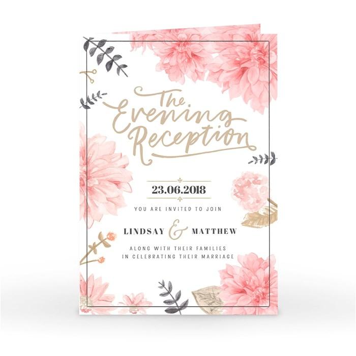 personalised wedding invitation evening reception floral chic