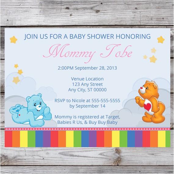 care bear baby shower invitation