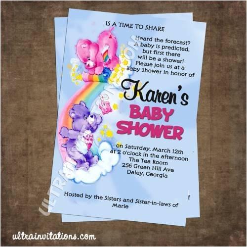 care bears baby shower invitations