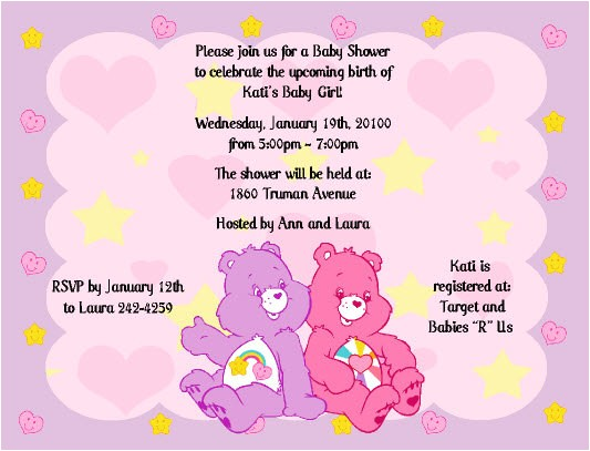 care bears invitations baby shower or