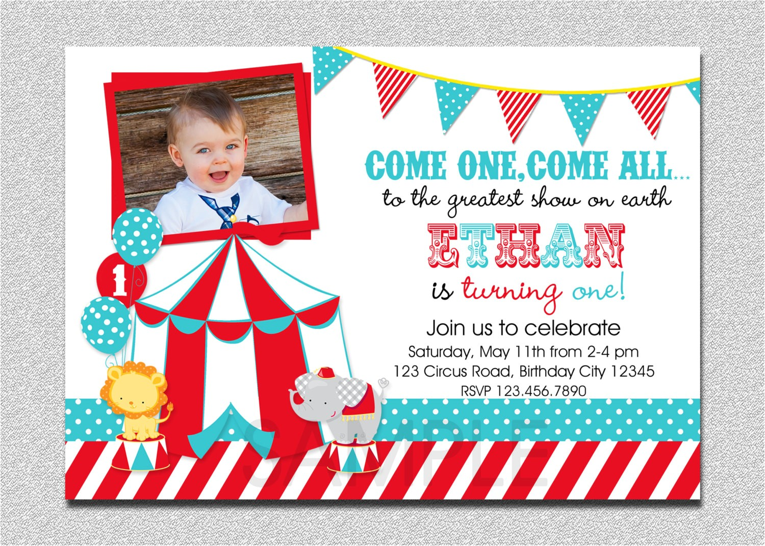Carnival 1st Birthday Invitations Circus Birthday Invitation 1st Birthday Circus Party
