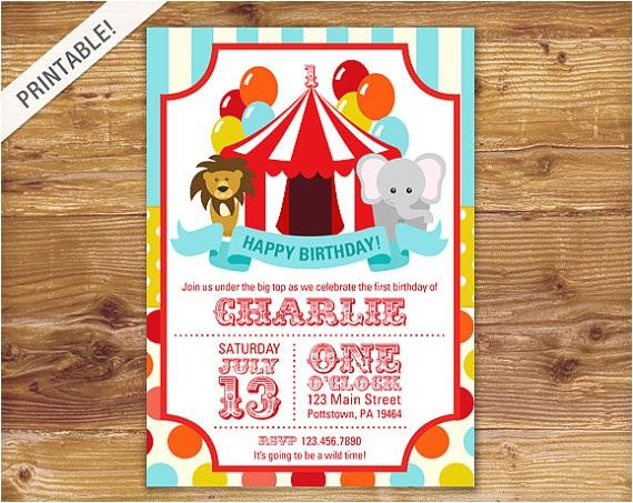 first birthday carnival invite circus