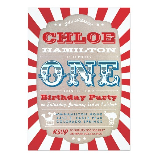 first birthday circus carnival party invitation