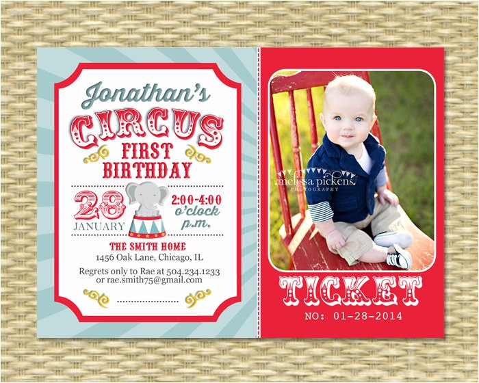circus first birthday invitation circus