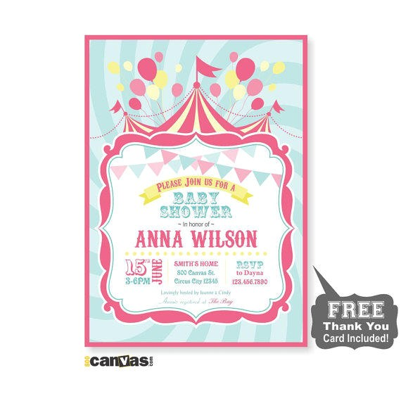 circus baby shower invitation printable circus babyshower theme carnival baby shower invitation pink girls baby shower digital diy 63