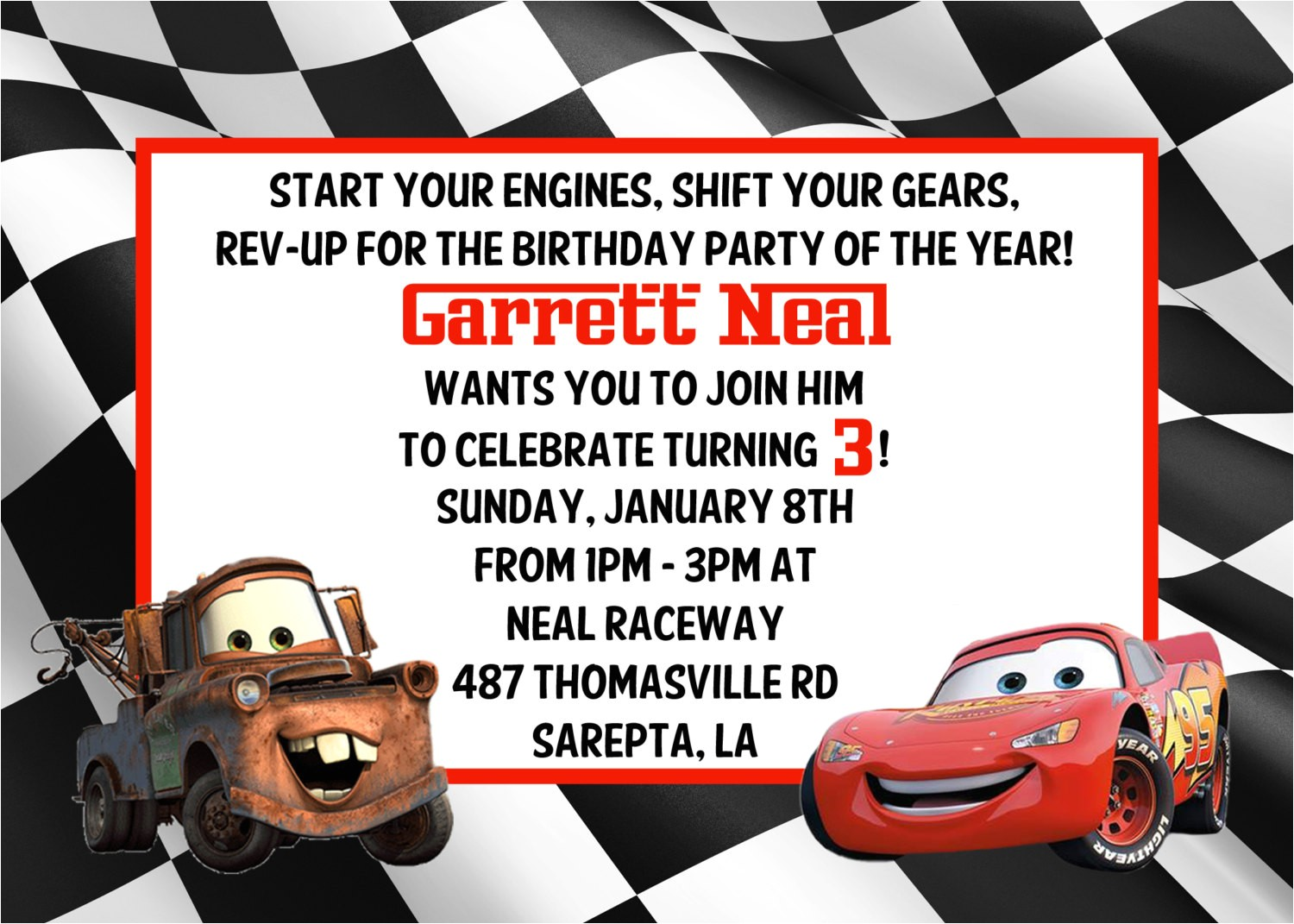 cars birthday invitations template free