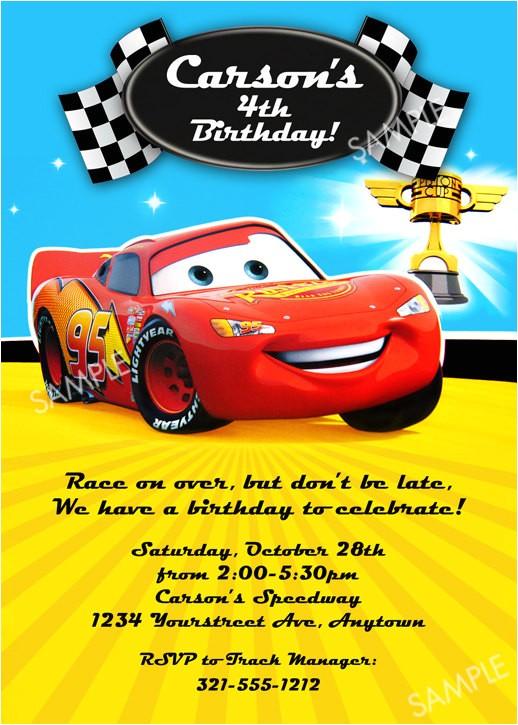 disney cars invitation for birthday