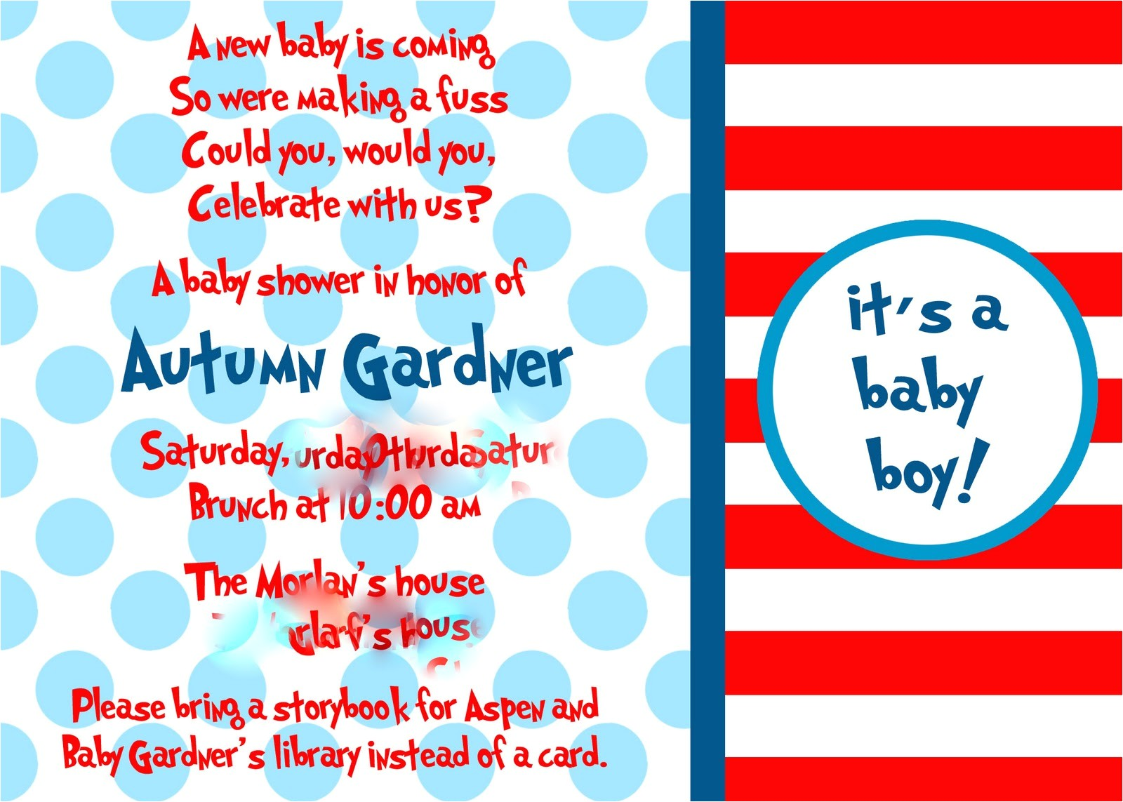 cat in the hat baby shower