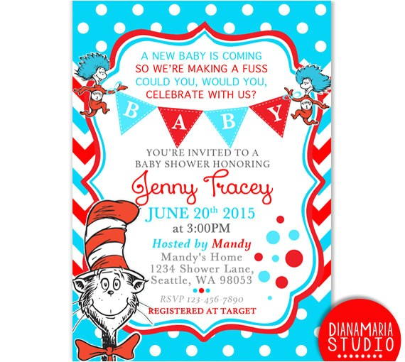 dr seuss baby shower invitation card cat