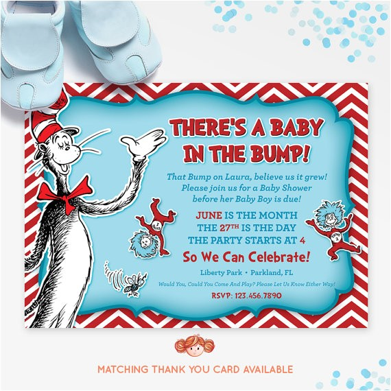 dr seuss baby shower invitation cat in