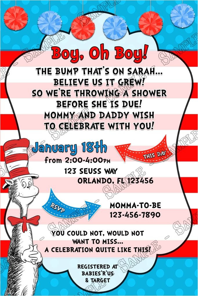 boy oh boy the cat in the hat baby shower invitation