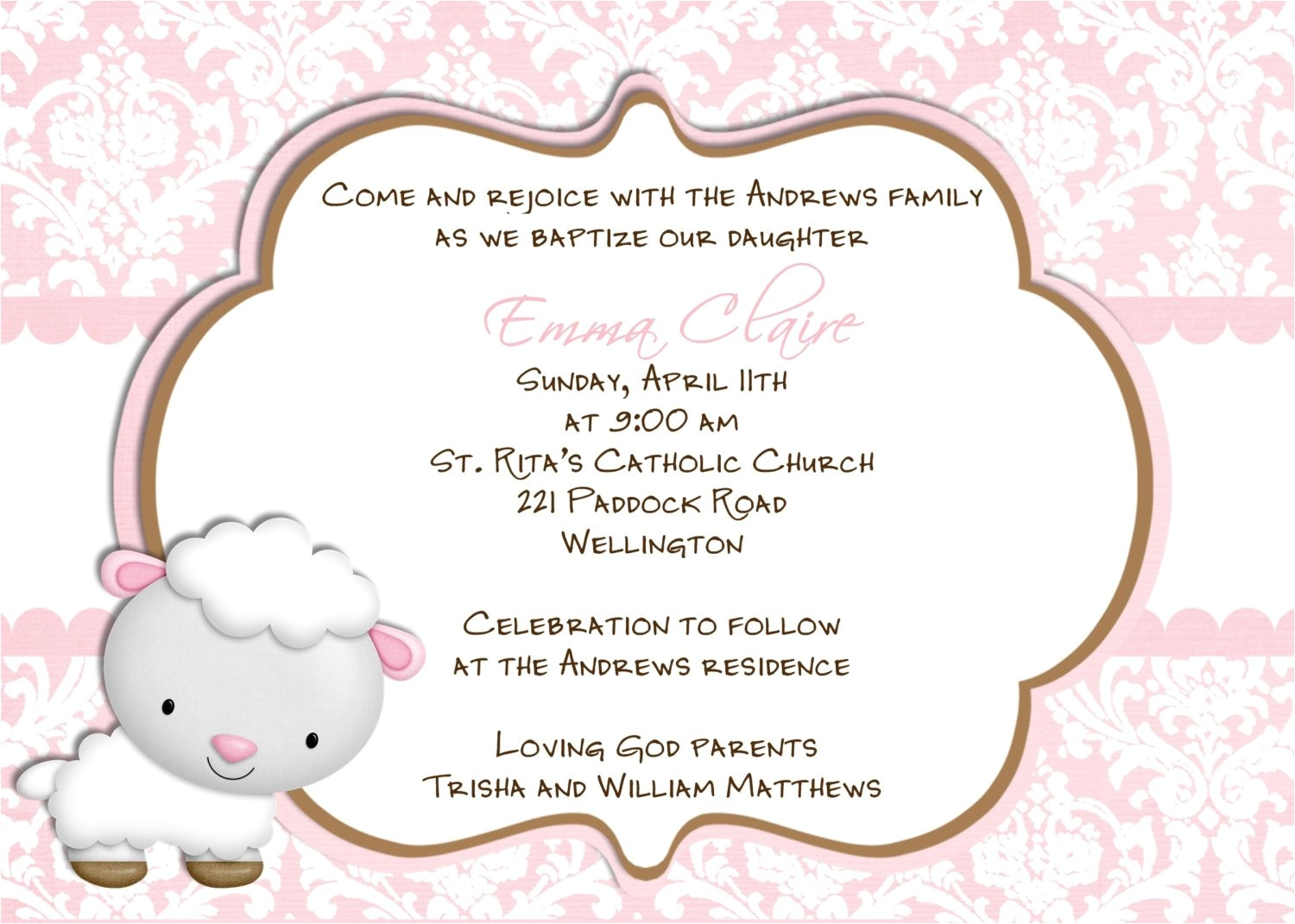 Catholic Baptism Invitations In Spanish Baptism Invitations In Spanish Wording for Baptism