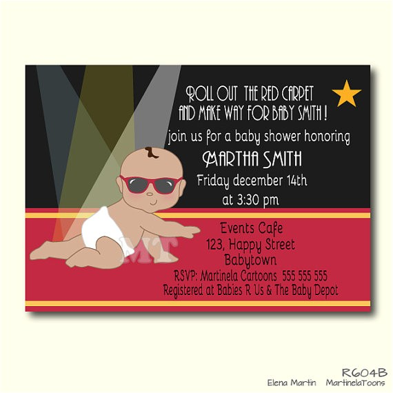 red carpet baby shower invitation celebrity